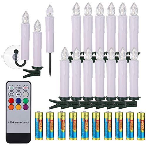 40/30/20/10x Weihnachtskerzen mit Batterien Timer & Fernbedienung LED Kerzen Flammenlose Lichterkette mit Zubehörset für Auß-Innen Weihnachtsbaum Hochzeit Geburtstags Party Deko Kabellose Kerzen