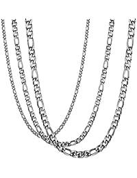 BESTEEL 3PCS 3-9MM Acier Inoxydable Collier Figaro pour Homme Femme Unisexe Chaîne de Collier Assorti 51-71CM