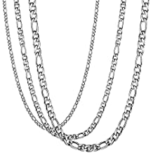 467956775e1e Besteel 3Piezas 3-9MM Acero Inoxidable Collar para Hombre Mujer Unisex  Cadena Figaro Collar Plata