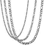 Besteel 3Piezas 3-9MM Acero Inoxidable Collar para Hombre Mujer Unisex Cadena Figaro Collar Plata 61CM