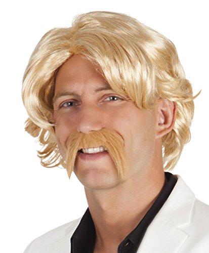 Boland 86336 Erwachsenenperücke Chuck mit Schnurrbart, blond, One Size