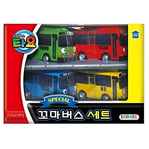 Tayo The Little Bus Special 4Pcs Mini Car Set : Coréenne Made TV animation Toy (Tayo + Rogi + Gani + Rani)
