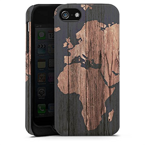 Apple iPhone 7 Hülle Case Handyhülle Weltkarte Holz Erde Tough Case matt