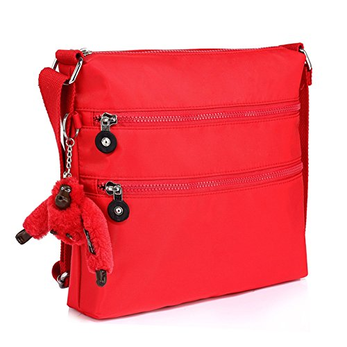 Borsa A Tracolla Da Donna Con Tracolla Da Donna Di Medie Dimensioni Con Molte Tasche 00541 (corpo Croce Grigio) Corpo Croce Rossa
