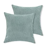 Aitliving 2 pcs Pack Cushion Covers Corduroy Throw Pillow Cases Covers, Super Soft Chenille Striped Vevlet Both Sides, 18 X 18 Inch, Sterling Blue, 45 X 45cm