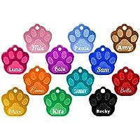 Hundemarke Pfote mit Gravur (Text+Motiv), verschiedene Farben inkl. 2 gratis Schlüsselringe
