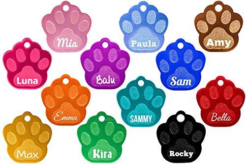 Hundemarke Pfote mit Gravur (Text+Motiv), verschiedene Farben inkl. 2 gratis Schlüsselringe (Braun Hund Dog Halsband)