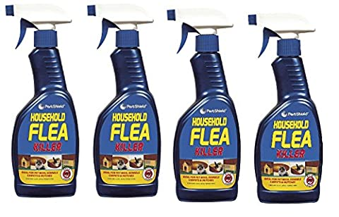 4 x 500 ml Pest Shield Household Flea Killing Spray Ideal For Cat Dog Bed Carpet Kennels Hutches Soft