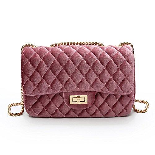 Winter Gold Samt Kette Kleine Quadratische Tasche Koreanische Version Mädchen Messenger Bag,Pink-OneSize (Leder-gepäck Sperre)