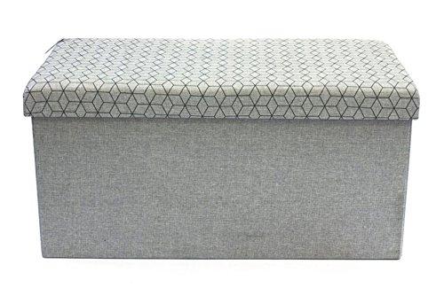 Beige XMF012001-1 XMAF Tabouret Pouf Coffre Bo/îte Si/ège de Rangement Pliable Gagner de lespace Clair 76 x 38 x 38 cm Tissu