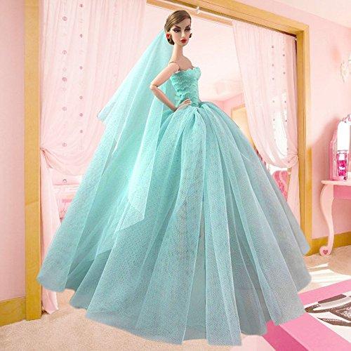 4021bd1f03c0 Beetest Elegante Fata Abiti per Barbie Doll   Barbie Bambole Matrimonio  Abito Partito Vestito con Testa Velo