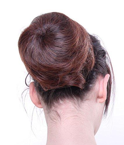 Prettyland DQ87A - Moño liso Hepburn postizos bollos a 13cm larga con goma, extensión - 4T30 marrón y marrón negro