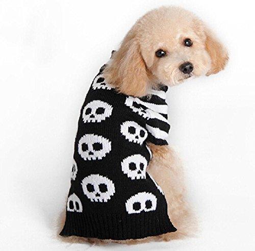 ANIAC Halloween-Kostüm Scary Skull Streifen Muster Pullover Kleidung für Haustiere Katzen Hunde, Schwarz und Weiß Farbe (XS) (Für Halloween-kostüme Kaninchen)