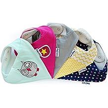 Lovjoy Baberos del bebé - Paquete de 5 Diseños para niña