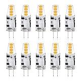 Reteck 10er Pack G4 1.5W LED Lampen, 130lm, 1.5W ersetzt 10W Halogenlampen, Nicht Dimmbar, Warmweiß(2900K), 12V AC/DC, G4 LED Leuchtmittel Birne