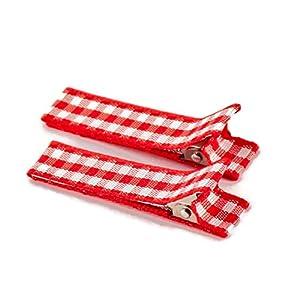 1 Paar hochwertige Haarspangen rot kariert – mit Stoff bezogen – KEIN ZIEPEN – Viele Variationen – Made in Gemany