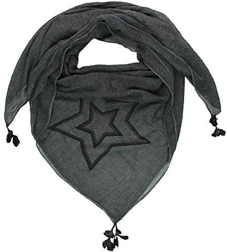 Mevina Damen XXL Schal Glitzer Stern Glitzersteine groß quadratisch Baumwolle Tuch Schal Halstuch groß Oversized Schwarz T2468