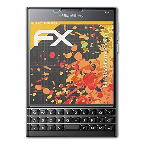 atFolix Panzerfolie kompatibel mit BlackBerry Passport Schutzfolie, entspiegelnde und stoßdämpfende FX Folie (3X)