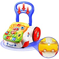 WISHTIME Activity Center Walker Baby Toy Sit to Stand Learning Walker Push and Pull Activity Center Music and Light Adjustable-Height Early Dvelopment Toys for 6 Months to 3 Years Old