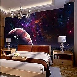 BZDHWWH Papier 3D-Bodenbeläge Gewebe Schlafzimmer Bett Fantasy Universum Sterne Planeten Großes Wandbild Tapeten Für Wände 3D, 160 Cm (H) X 439 Cm (W)