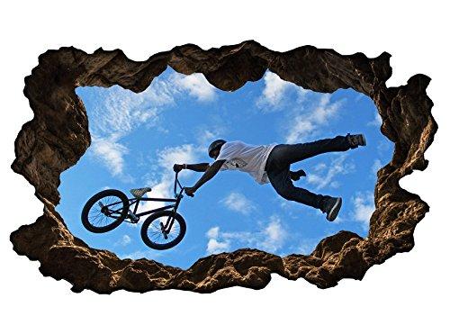3D Wandtattoo Fahrrad BMX Mountainbike Sport bike selbstklebend Wandbild Wandsticker Wohnzimmer Wand Aufkleber 11G304, Wandbild Größe F:ca. 140cmx82cm