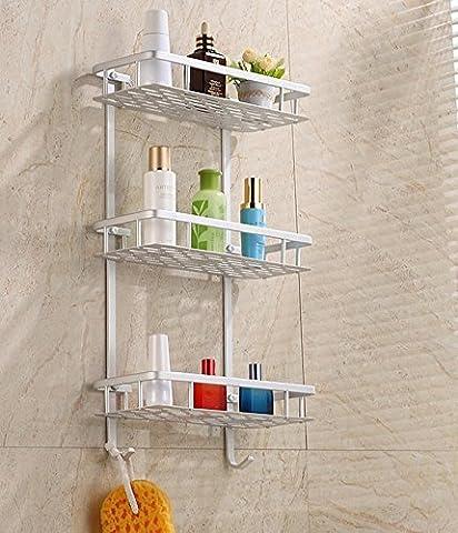 hensych Panier de douche de salle de bain avec étagère de rangement mural en aluminium accessoires cuisine étagères de stockage en rack, Rectangle, 3-Tier