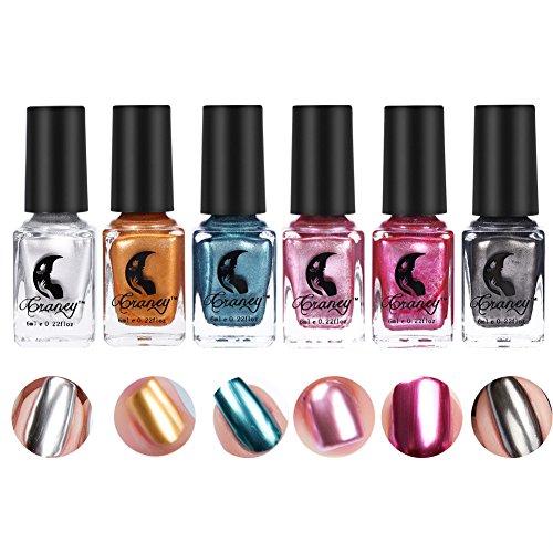 Metallischer Spiegel-Effekt-Nagellack, 6 Farben-Nagel-Kunst-Chrom-Metall Shinny Farbnagel-Öl(Nagellack) -