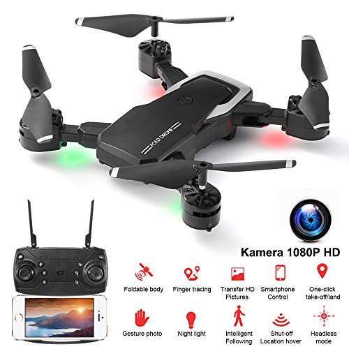 GEYUEYA Home Drohne mit Kamera, Mini Faltbare Drohne mit Kamera 1080P HD WiFi 120°FPV Live Übertragung, RC Quadcopter, Kopflos Modus, 3D Flip, Höhe-Halten, Flugbahnflug,Notlandung,Drohne für Anfänger