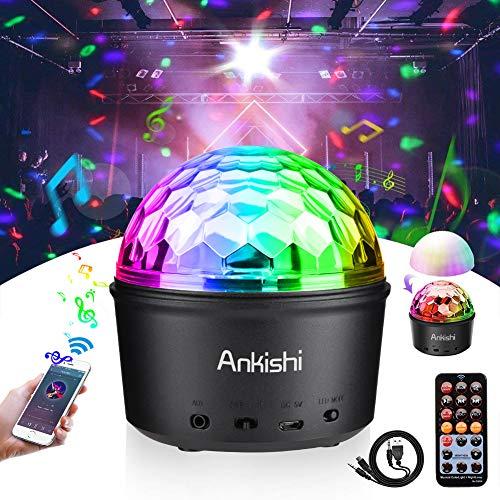 Discokugel Bluetooth Musik Lichteffekt 9 Farben Party Bühnenlicht mit Musik und Stimme Steuerung, 9W LED Nachtlicht, Wireless Disco Lautsprecher für Club DJ Karaoke von Ankishi(Fernbedienung, USB)