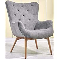 PACO Mid Century Chair [Grey] Fabric Armchair with Solid Wood Legs - Curved Back Tufted Chair | Contemporary Accent Sofa Chair