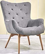 PACO Mid Century Chair [Grey] Fabric Armchair with Solid Wood Legs - Curved Back Tufted Chair | Contemporary A