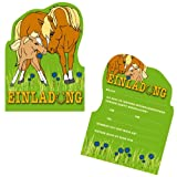 6 Einladungskarten * PONY / PFERD * für Kindergeburtstag und Party von DEKOSPASS // Kinder Geburtstag Party Kinderparty Dinoparty Einladung Einladungen Karte Einladungs-Set Motto Mottoparty Fohlen Ponys Pferde Mädchen Reiten