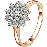 Yoursfs Fabulous 1CT Emulational Diamond Sunflower Jewelry 18k Rose Gold Plated Women Wedding Rings