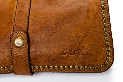Ira del Valle, Borsa Donna, In Vera Pelle, Vintage, Borsa tracolla donna, Modello Charlotte Bag, Made In Italy cognac