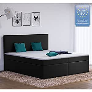 designer boxspringbett 180x200 doppelbett polsterbett bett hotelbett stoff schwarz 180x200. Black Bedroom Furniture Sets. Home Design Ideas