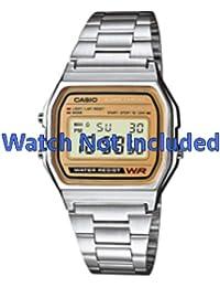 Casio correa de reloj A158WEA-9EF / A158WEA-9 Acero Palteado 18mm(Sólo reloj correa - RELOJ NO INCLUIDO!)