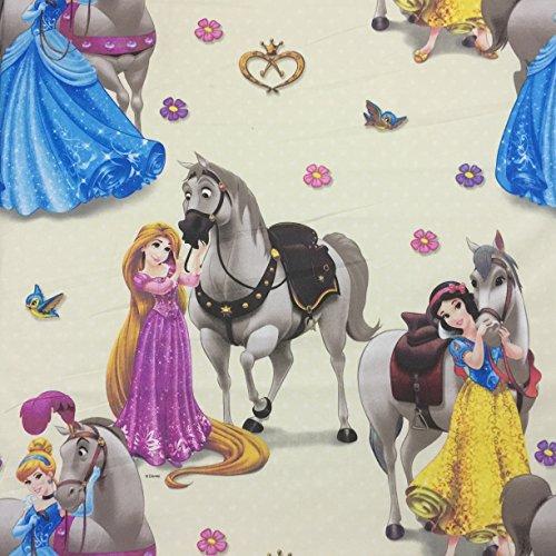 Lizenziertes Disney-Prinzessinnen-Design, hochwertig, 100% Baumwolle, fein gewebt Children's Duschvorhang aus Stoff, 140 cm breit, Meterware