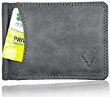 Allen Solly Men's Money Clip Leather Bi-Fold Slim Wallet with Card Holder & Money Clipper. (Dark Grey)