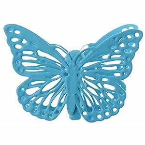 SANTEX 3881-8, Sachet de 4 Papillons métal sur pince, turquoise
