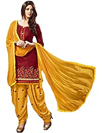 Crazy Women's Cotton Patiala Salwar Suits Dress Material Red And Yellow Color