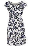 GS-Fashion Leinenkleid Damen Sommer mit Blumen Kleid ärmellos Knielang Beige 44 (Herstellergröße XXXL)
