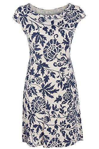 GS-Fashion Leinenkleid Damen Sommer mit Blumen Kleid ärmellos Knielang Beige 42 (Herstellergröße XXL)