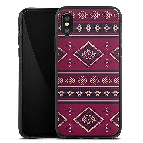 Apple iPhone X Silikon Hülle Case Schutzhülle Ethno Muster Indianer Silikon Case schwarz
