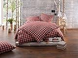 """Bettwaesche-mit-Stil warme Fein-Flanell Winter Bettwäsche """"Toronto"""" Landhaus Karo rot grün weiß kariert (135 cm x 200 cm + 80 x 80)"""
