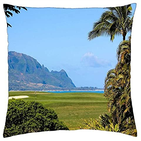 Princeville Ocean View Golf Course overlooking beach and cliffs Kauai Hawaii - Throw Pillow Cover Case (18