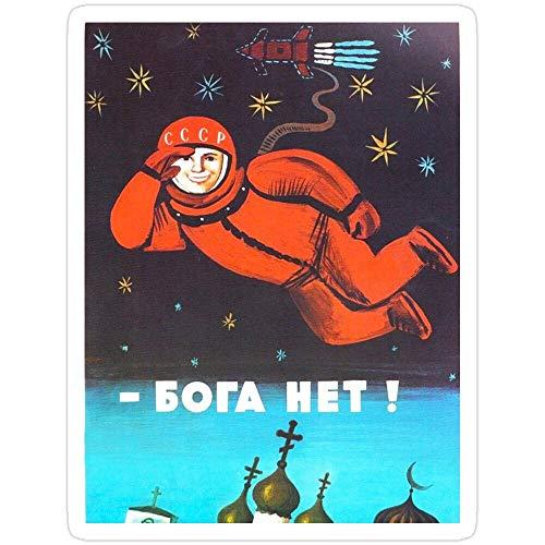 "B. Strange Mall ""There's no god! / ÆHÃ3Ã4Ã3à ÂRetro 1960er UDSSR Propaganda-Poster von Cosmonaut Yuri Gagarin im Weltraum, 3 Stück"