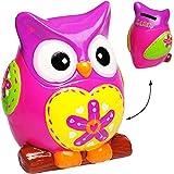 Unbekannt XL große - Spardose -  lustige Eule - PINK / ROSA - grün - bunt  - stabile Sparbüchse aus Porzellan / Keramik - Sparschwein - Eulen Vögel - für Kinder & Erw..