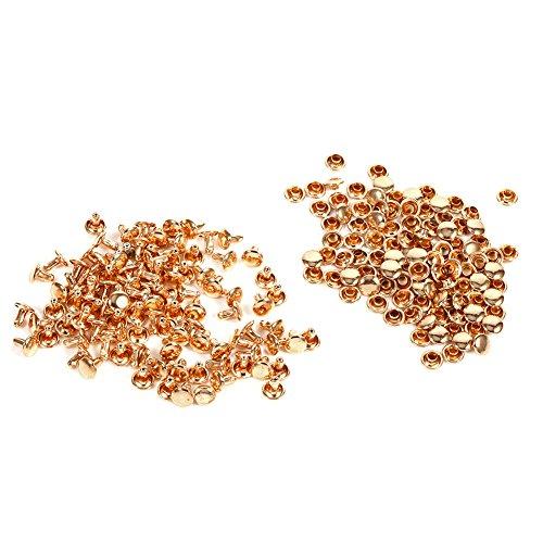 100 Satz Doppel Cap Niet Für Leder Handwerk Reparaturen Dekoration, Doppel Cap Rivet Rohr Metallbolzen Kit 8 × 8mm für DIY, Tasche, Schuhe Reparaturen(Gold)