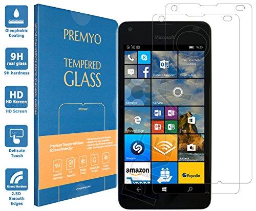 PREMYO 2 Stück Panzerglas Schutzglas Bildschirmschutzfolie Folie kompatibel für Microsoft Lumia 550 Blasenfrei HD-Klar 9H Gegen Kratzer Fingerabdrücke