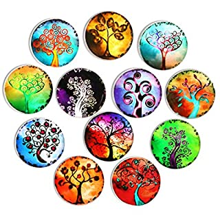 Cosylove 12pcs Tree Refrigerator Magnets, Crystal Glass Fridge stickers, Tree of Life Magnets for Office,Cabinets,Whiteboards, Photos, Calendar, Decorative Fridge, Home Decoration